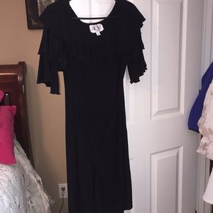Julian taylor black dress with ruffled sleeves